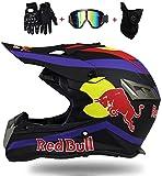 SKINGO Motocross Helmets Motorcycle Helmet Motocross Helmets Youth Children Offroad Helmet Crash Helmet Protective Children's Quad Bike and Cross Bike Red Bull XS=(53~54CM)